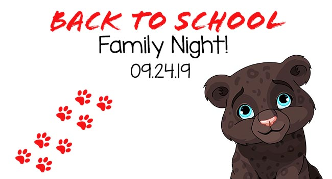 Pleviak Panther cub with text Back to School Family night 09.24.19