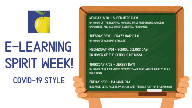 Graphic of chalkboard with E-learning spirit week info