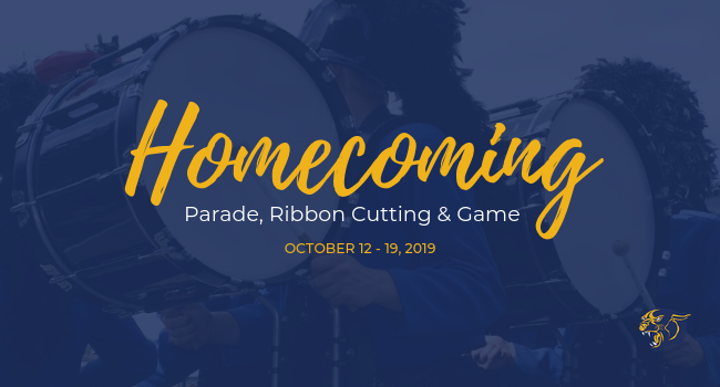 Image of parade with text overlay that says Homecoming parade, ribbon cutting and game Oct 12 - 19