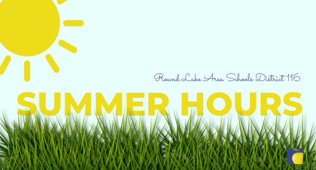 Graphic of grass and sunshine with text Summer Hours