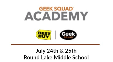 Graphic of Geek Squad Academy, Best Buy, and Geek Squad Logos