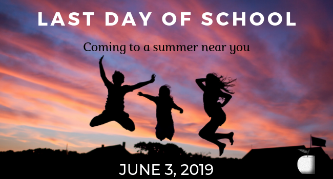 Image of silhouette of children jumping in air with title of LAST DAY OF SCHOOL