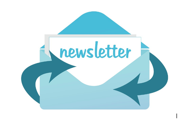 open envelope with word newsletter showing
