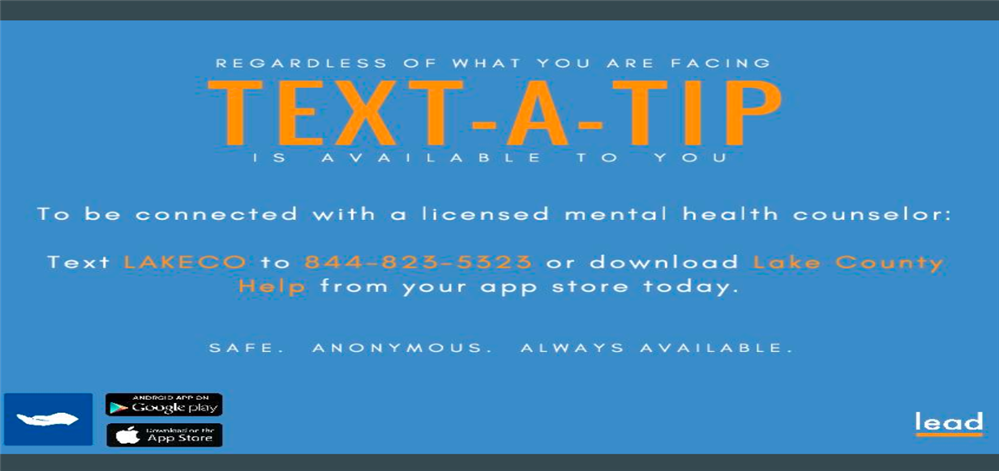 Text-a-tip Mental Health Assistance Flyer