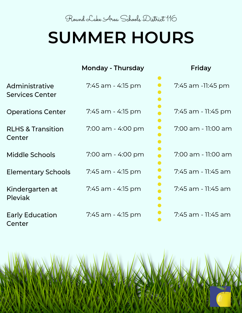 Graphic with summer hours text