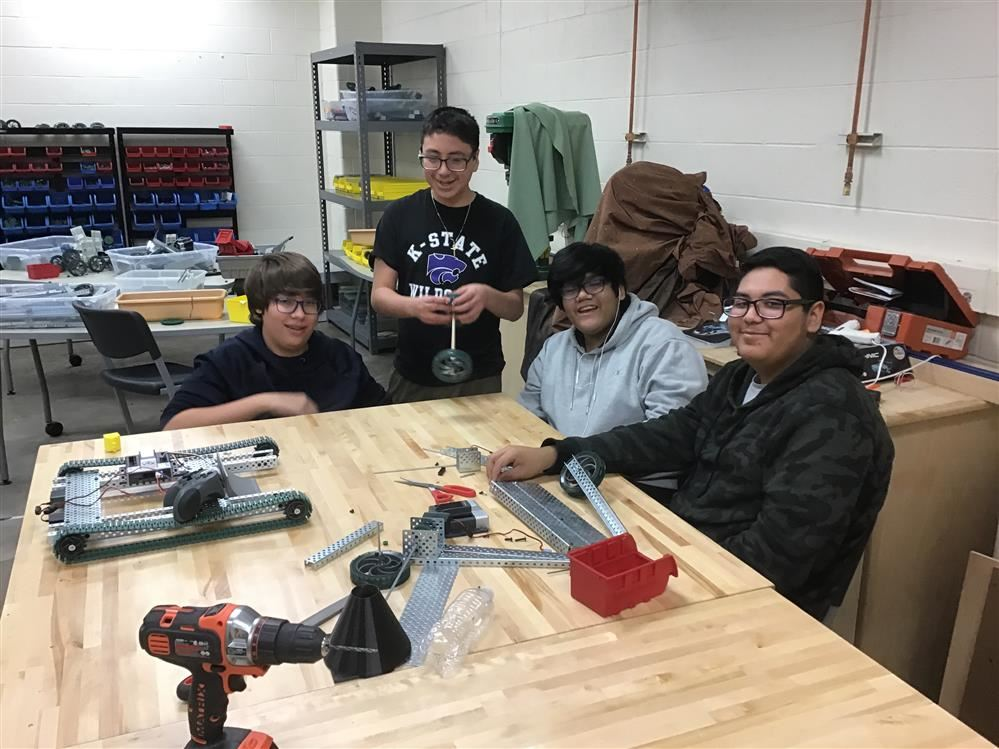 Robotics Club students