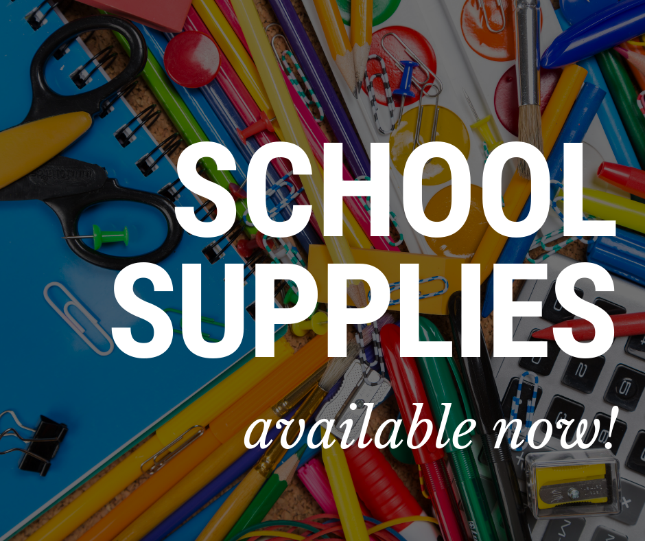 Graphic with School Supplies text
