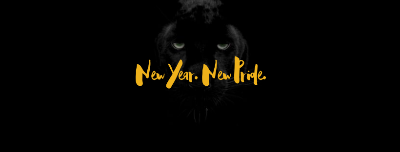 Image of panther with text overlay - New Year New Pride